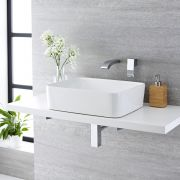 Milano Rivington - White Modern Rectangular Countertop Basin with Wall Hung Mixer Tap - 480mm x 370mm (No Tap-Holes)