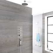 Milano Lisse - Concealed Shower Tower with 200mm Round Head and Short Ceiling Arm
