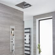 Milano Lisse Concealed Brushed Shower Panel with 400mm Square Recessed Ceiling Head