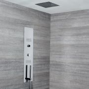 Milano Vis - Concealed Digital Shower Tower Panel with 280mm Square Recessed Ceiling Head, 2 Body Jets and Hand Shower