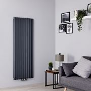 Milano Aruba Flow - Anthracite Vertical Middle Connection Designer Radiator - 1600mm x 590mm (Double Panel)