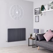 Milano Capri - Anthracite Flat Panel Horizontal Designer Radiator - 635mm x 1000mm (Double Panel)