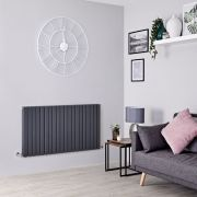 Milano Capri - Anthracite Flat Panel Horizontal Designer Radiator - 635mm x 1200mm (Double Panel)