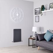 Milano Alpha - Anthracite Flat Panel Horizontal Designer Radiator - 635mm x 420mm (Double Panel)