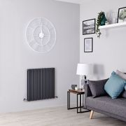 Milano Alpha - Anthracite Flat Panel Horizontal Designer Radiator - 635mm x 630mm (Double Panel)