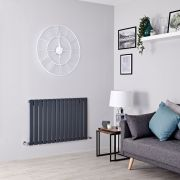 Milano Alpha - Anthracite Flat Panel Horizontal Designer Radiator - 635mm x 980mm