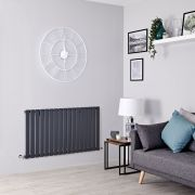 Milano Alpha - Anthracite Flat Panel Horizontal Designer Radiator - 635mm x 1190mm