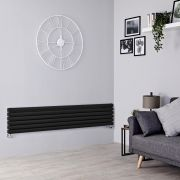 Milano Aruba - Black Horizontal Designer Radiator - 354mm x 1600mm (Double Panel)