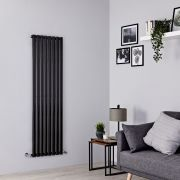 Milano Aruba - Black Vertical Designer Radiator - 1600mm x 472mm