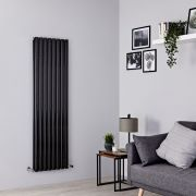 Milano Aruba - Black Vertical Designer Radiator - 1600mm x 472mm (Double Panel)