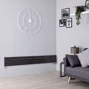 Milano Aruba Slim - Black Space-Saving Horizontal Designer Radiator - 236mm x 1600mm (Double Panel)