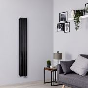 Milano Aruba Slim Electric - Black Vertical Designer Radiator - 1600mm x 236mm (Double Panel)