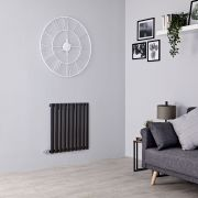 Milano Aruba Electric - Black Horizontal Designer Radiator - 635mm x 595mm
