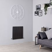 Milano Aruba - Black Horizontal Designer Radiator - 635mm x 595mm (Double Panel)