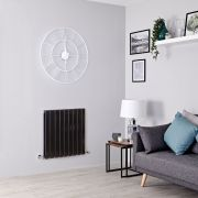 Milano Alpha - Black Flat Panel Horizontal Designer Radiator - 635mm x 630mm (Double Panel)