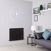 Milano Alpha - Black Flat Panel Horizontal Designer Radiator - 635mm x 840mm (Double Panel)