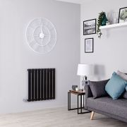 Milano Alpha Electric - Black Horizontal Designer Radiator - 635mm x 630mm