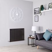 Milano Alpha - Black Horizontal Designer Radiator - All Sizes