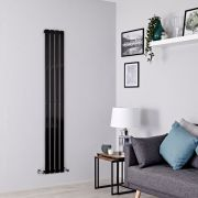 Milano Alpha - Black Flat Panel Vertical Designer Radiator - 1600mm x 280mm