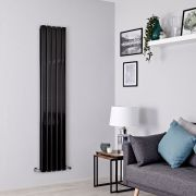 Milano Alpha - Black Flat Panel Vertical Designer Radiator - 1600mm x 350mm (Double Panel)