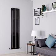 Milano Alpha - Black Flat Panel Vertical Designer Radiator - 1600mm x 420mm
