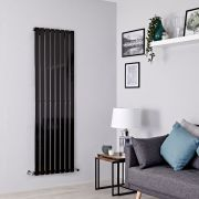 Milano Alpha - Black Flat Panel Vertical Designer Radiator - 1600mm x 560mm