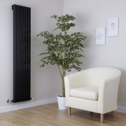 Milano Cayos - Black Vertical Designer Radiator - 1600mm x 342mm