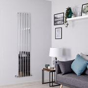 Milano Alpha - Chrome Flat Panel Vertical Designer Radiator - 1600mm x 375mm