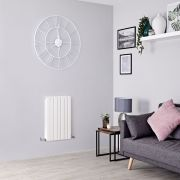 Milano Capri - White Flat Panel Horizontal Designer Radiator - 635mm x 420mm (Double Panel)