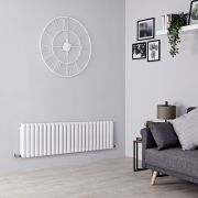 Milano Aruba - White Horizontal Designer Radiator - 400mm x 1411mm (Double Panel)