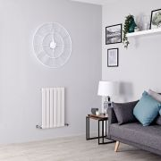 Milano Alpha - White Flat Panel Horizontal Designer Radiator - 635mm x 420mm