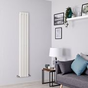 Milano Alpha - White Flat Panel Vertical Designer Radiator - 1600mm x 280mm (Double Panel)