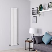 Milano Alpha - White Flat Panel Vertical Designer Radiator - 1600mm x 350mm (Double Panel)