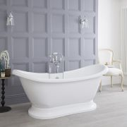 Milano Meldon - 1750mm x 725mm Double Ended Freestanding Bath with Base