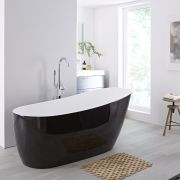Milano Nero - Black Modern Freestanding Slipper Bath - 1800mm x 720mm (No Tap-Holes)