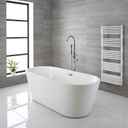 Milano Ballam - White Modern Oval Double-Ended Freestanding Bath - 1695mm x 750mm