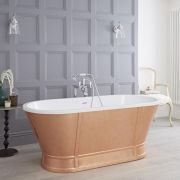 Milano Cartmel - 1676  x 780mm Double Ended Copper Effect Freestanding Roll Top Bath