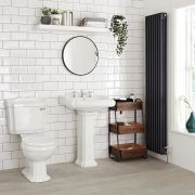 Milano Windsor - Traditional Close Coupled Toilet and 3 Tap-Hole Pedestal Basin Set