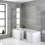 Milano - 1700mm x 850mm Square Shower Bath with Panels and Screen - Left Hand