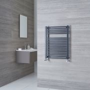 Milano Brook - Anthracite Curved Heated Towel Rail - 800mm x 600mm