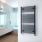 Milano Brook - Anthracite Curved Heated Towel Rail - 1000mm x 600mm