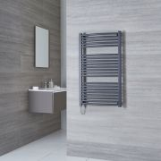 Milano Brook Electric - Anthracite Curved Heated Towel Rail - 1000mm x 600mm