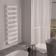 Milano Passo - Aluminium White Designer Heated Towel Rail - 1590 x 500mm