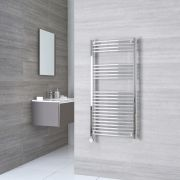 Milano Ribble Electric - Chrome Curved Heated Towel Rail - 1200mm x 500mm