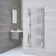 Milano Ribble - Chrome Curved Heated Towel Rail - 1500mm x 500mm