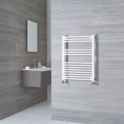 Milano Calder - White Curved Heated Towel Rail - 800mm x 600mm