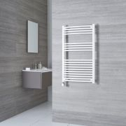 Milano Calder Electric - White Curved Heated Towel Rail - 1000mm x 600mm