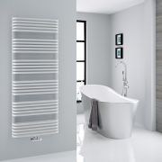 Milano Bow - White D-Bar Heated Towel Rail - 1533mm x 600mm