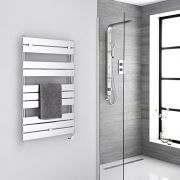 Milano Lustro Electric - Chrome Flat Panel Designer Heated Towel Rail - 1000mm x 600mm