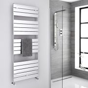 Milano Lustro - Chrome Flat Panel Designer Heated Towel Rail - 1512mm x 600mm